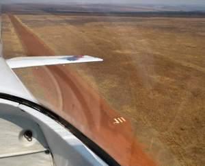 Departure from gravel runway #departure